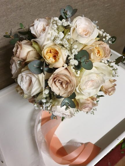 Our beautiful rose bride bouquet for Tara and Justin's Wedding on 2nd August 2019